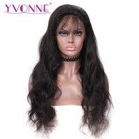 Ивонн 360 Кружева Фронтальная парик предварительно сорвал с волосы младенца 180% Плотность натуральная объемная волна парики для черный Для ж
