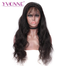 YVONNE 360 Lace Frontal Wig Pre Plucked With Baby Hair Virgin Body Wave Wigs For Black Women Natural Color(China)