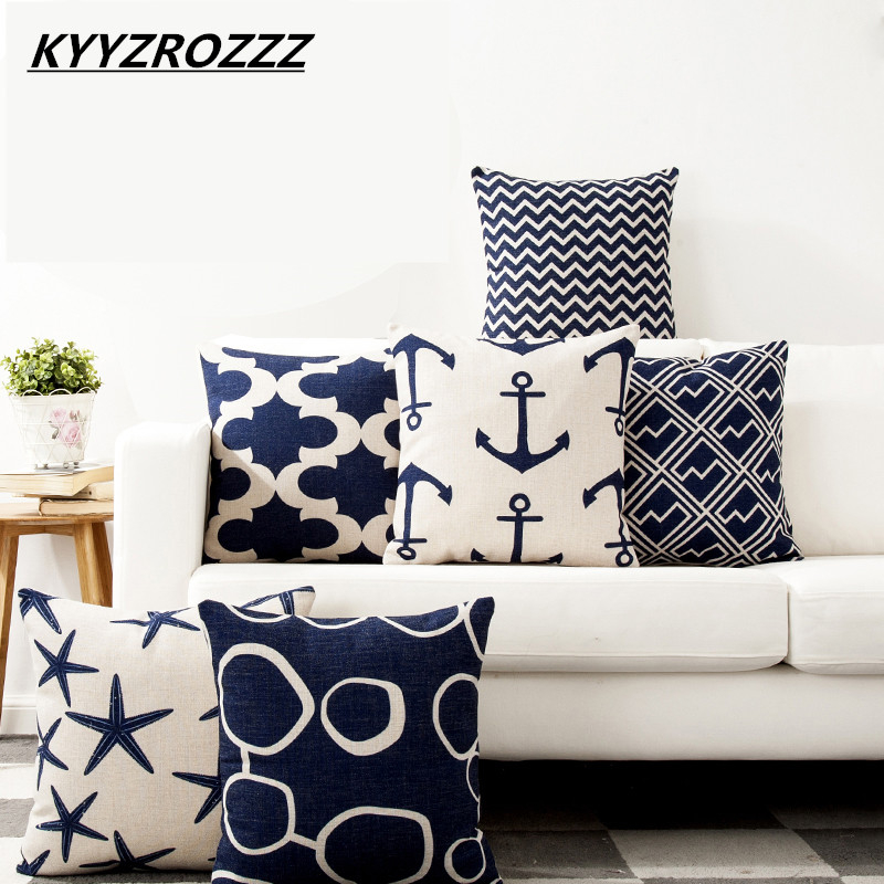 Pillow Case Mediterranean Blue Sea Cushion Cover Cotton Linen Anchor Geometric Sailing Printed Throw Pillows Cover Home Decor