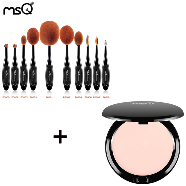 MSQ Tooth Brush Shape Oval Makeup Brush Set MULTIPURPOSE Professional Brush Kits and Single Color Concealer Cream Palette