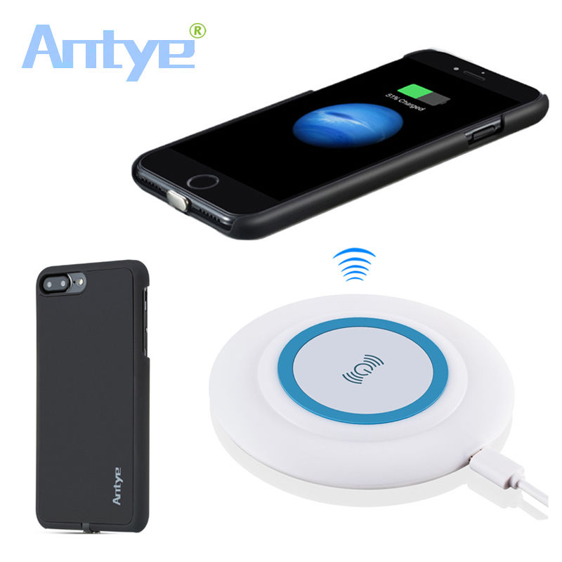 Antye Qi Wireless Charger Touching Pad With 7 <font><b>LED</b></font> for <font><b>iPhone</b></font> 7/7 Plus+Qi Receiver <font><b>Case</b></font>