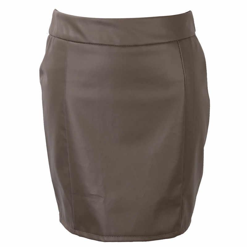 878349c40 Moda mujer falda de cuero sólido Bodycon Delgado lápiz Mini Falda corta  señoras cremallera alta cintura falda apretada Clubwear