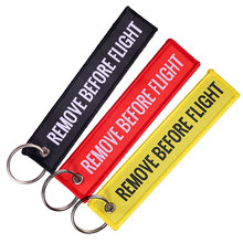 3PC Remove Before Flight Keychains for Aviation Gifts Jacqurad Woven customize keyring Special Luggage Tag Jewelry sleutelhanger(China)