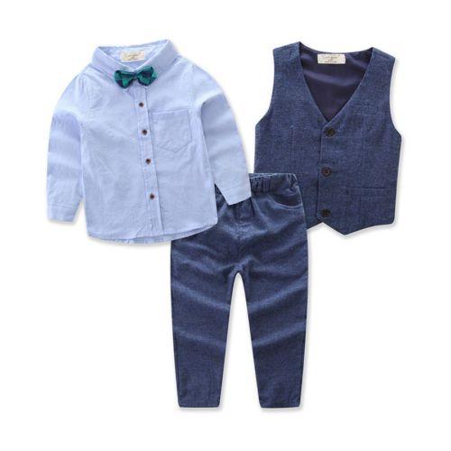 3PCS Little Gentleman Outfits Clothes Sets Suit Toddler Baby Boy Gentleman Waistcoat Shirt Denim Pants handsome boy and summer gentleman shirt strap 2 suit factory direct