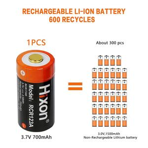 Image 4 - 16pc 700mAh 3.7V RCR123A CR123A 16340 rechargeable battery for Arlo HD Cameras and Reolink Argus UL FCC Certified made by Hixon
