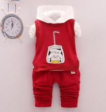 hot deal buy 2019 children clothing spring long sleeve hooded kits for kids boy girls cotton infant baby three piece set baby clothing qhq049
