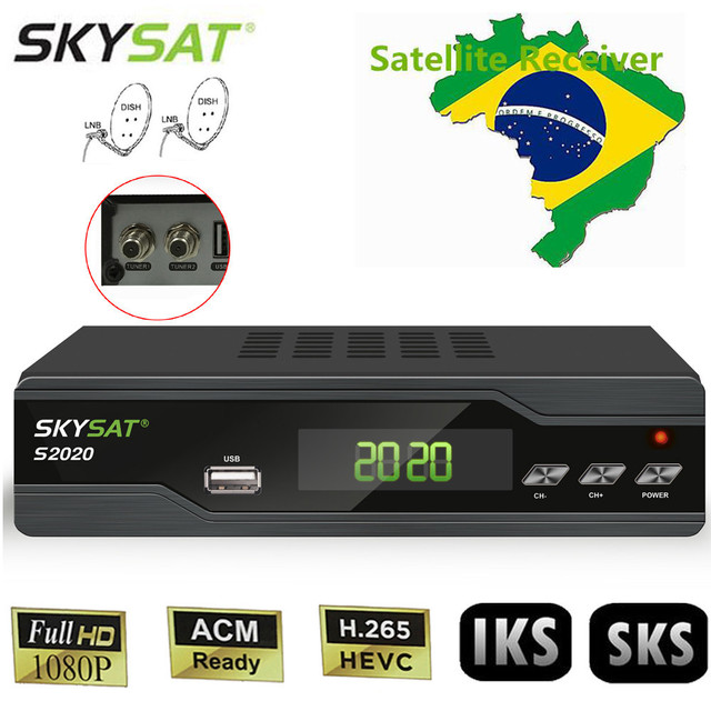 [Brazil] SKYSAT S2020 Twin Tuner IKS SKS VOD ACM IPTV M3U H.265 Satellite Receiver Box Free South America Stable Cline Server