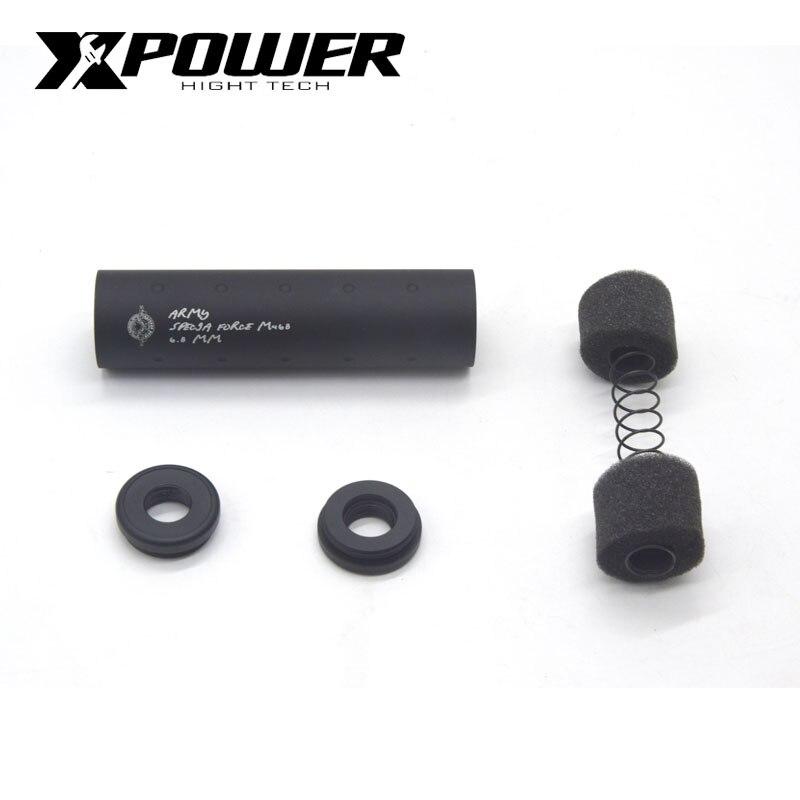 XPOWER AEG Airsoft silenciador accesorios común Universal de aluminio para pistolas de aire CS deportes