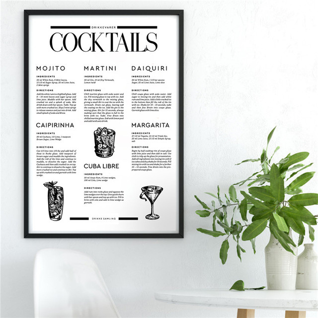 Signature Drinks Cocktail Poster Nordic Wall Art Print Wine Canvas Painting Bar Cart Dorm