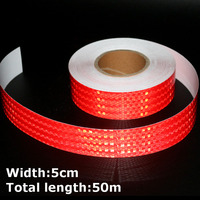 50m*5cm High Intensity Reflective Strips Stickers for Car Styling Truck Motorcycle Decoration Red Safety Warning Adhesive Tape