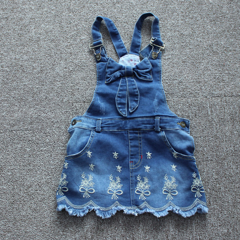 New Arrival 2017 Girls Denim Sundress Girls Silver embroidery Sundress Kids Suspender Denim dress Child Casual