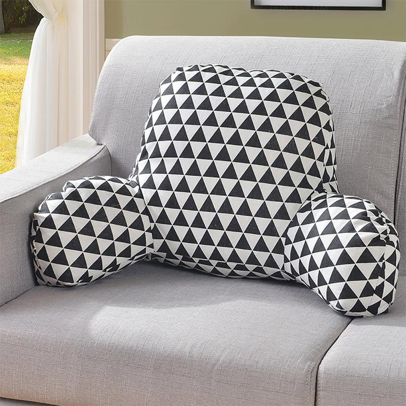 Pillow Back Cushion with Arm Support Bed Reading Rest Waist Chair Car Seat Sofa Rest Lumbar Cushion Cotton Linen Plush Fabric|Cushion| |  - title=