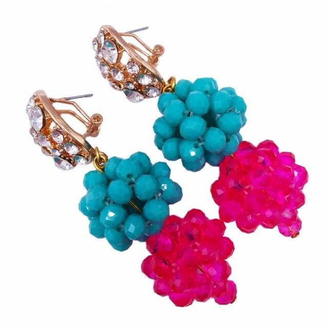 Beautiful Aqua Blue Fuchsia Pink Crystal Beaded Necklaces Costume Nigerian Wedding African Beads Jewelry Set for Women 12BZ01