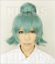 Tokyo Ghoul Eto Sen Takatsuki Peluca de pelo verde corta degradado con bollos, resistente al calor, Cosplay + gorro de peluca gratis