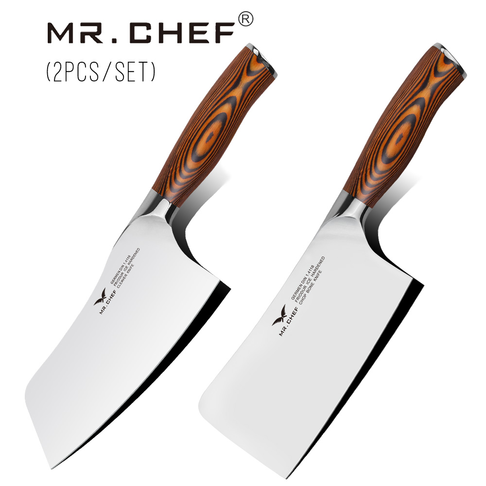 MR CHEF 2PCS Set Professional Chinese Cleaver Chopping Cooking Knives Heavy Duty Kitchen Cutlery Big Wood