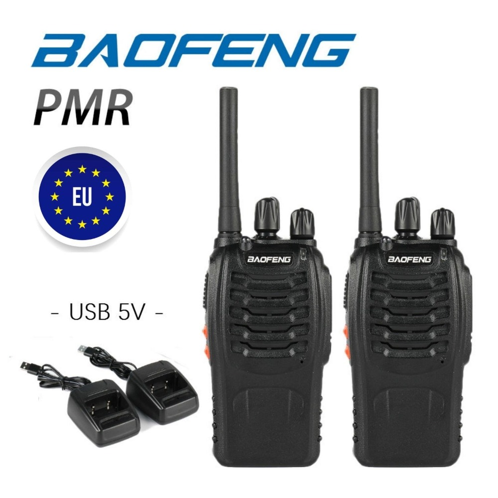 2pcs Baofeng BF-88E PMR 446MHz 0.5W UHF 16CH Protable Black Walkie Talkie Handheld Ham Two-way Radio USB Charger BF-888S 888S