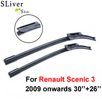 SLIVERYSEA Windscreen Wiper blades for Renault Scenic 3 and Grand Scenic 3 2009 Onwards Fit Rubber Wipers Arm Car Accessories