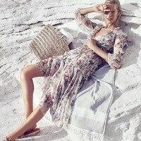 Women Long Sleeves V Neck Cream Floral Jasper Ruffle Frill Midi Dress With Tassels Silver tone Hardware Detail
