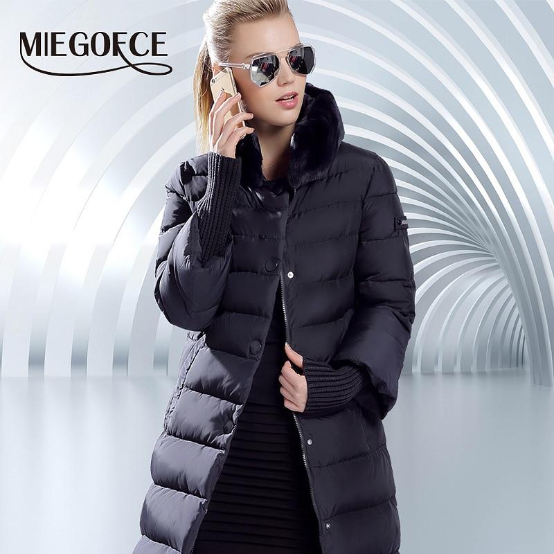 US $71.92 69% OFF|MIEGOFCE 2019 Winter Ente Unten Jacke Frauen Langen Mantel Warme Parkas Dicke Weibliche Warme Kleidung Kaninchen pelz kragen Hohe