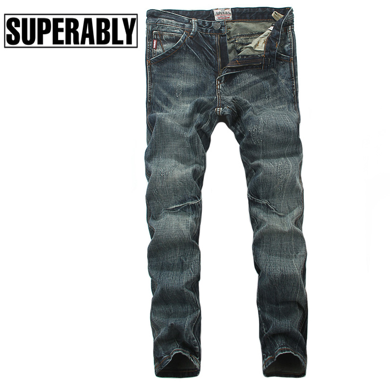 Superably Brand Mens Jeans High Quality Vintage Frayed Design Slim Fit Italian Style Pocket Denim Stretch Stripe Jeans Men Pants classic mid stripe men s buttons jeans ripped slim fit denim pants male high quality vintage brand clothing moto jeans men rl617