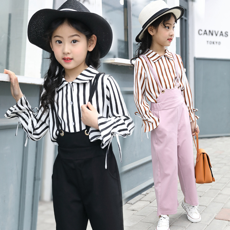 kids Clothes Set For Girls 5 6 7 8 9 10 11 12 13 Years 2018 Teenage Girls Fashion Clothing Striped  Flare Sleeve Shirt + Pant sport suit for boy 5 6 7 8 9 10 11 12 13 14 15 years teenagers kids clothing set long sleeve print shirt pant 2pcs clothes