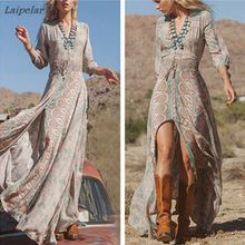 New Women Summer V Neck Vintage Boho Long Maxi Floral National Chiffon Dress Party Beach Sundress Laipelar