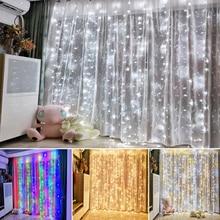 4,5x3 м 304 светодиодный S Фея светодиодный строка светильник с функцией памяти на Рождество вечерние гирлянда занавеска светящиеся Свадебные украшения Мерцание светильник s