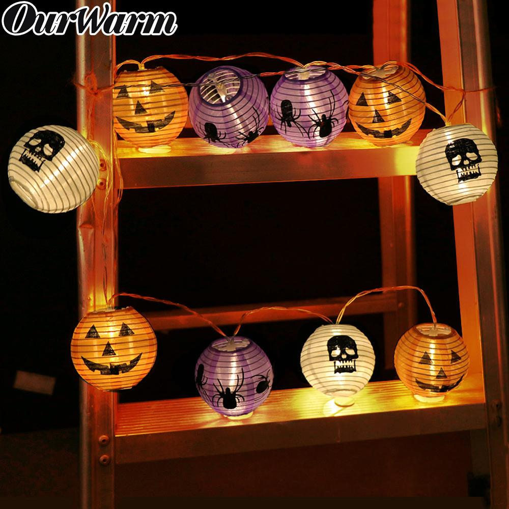 OurWarm 120cm Halloween Party Pumpkin Lantern LED String Lights 10 Heads LED Garland Outdoor Indoor Decoration Battery Powered
