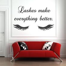 Eye Eyelashes Wall Decal Sticker Lashes Extensions Eyebrows Brows Beauty Salon home decor decals removeable vinyl sticker G285 art wall sticker lashes salon eyelashes decor vinyl removeable beauty salon decoration make up extensions eyebrows decal ly265