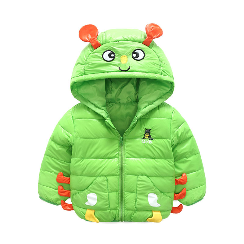 Children's Coats 3-9Y Hooded Jacket Cartoon Worm Green Kids Clothing Cute Outerwear For Girls Boys Autumn Winter Clothes nina stefanovich tale about littleworm book for kids