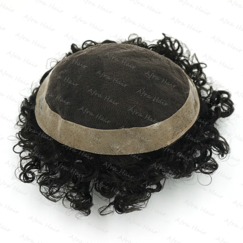Human Fring Curly Indian Hair Replacement Invisible Lace Wig Mans Toupet Peluca Peluquin Hombre Pelo Natural H047
