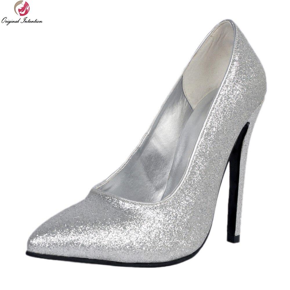 De Xd031 Niza Zapatos Punta Alta Hermosa Más Mujeres uu Calidad Las Original Intención Plata Pie Del Tamaño Ee Bombas Fino Dedo Tacones 15 4 Mujer 5qa86SEx