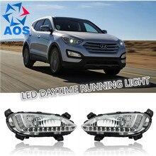 2PC/set New LED Car DRL Daytime Running Lights set For Hyundai Santa Fe IX45 2014-2015 Daylight Fog lamps