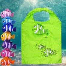 Yeni 7 renkler tropikal balık katlanabilir eko kullanımlık naylon büyük çantaları 38cm x 58cm