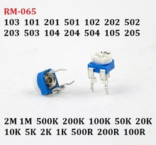 20 шт. 10K RM-065-103 101 201 501 102 202 502 203 503 104 204 504 105 переменный резистор 1/2/5/50/k 200R/M регулируемый потенциометр