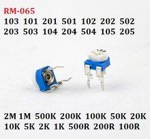 20PC 10K RM-065-103 101 201 501 102 202 502 203 503 104 204 504 105 Resistor Variável 1/2/5/50/k 200R/M potenciômetro ajustável