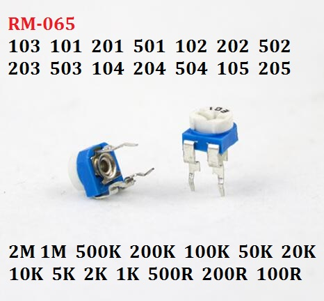 20PC 10K RM-065-103 101 201 501 102 202 502 203 503 104 204 504 105 Variable Resistor 1/2/5/50/k 200R/M Adjustable Potentiometer