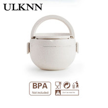ULKNN Wheat Stalk Round Lunch Box Beige Blue Pink Microwaves Available Good Heat Preservation Effect