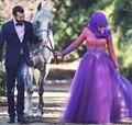 Arabic Kaftan Muslim Hijab Long Sleeve Lace Evening Dress 2016  Cheap Elegant Sexy Appliques Beaded Purple Party Formal Dresses