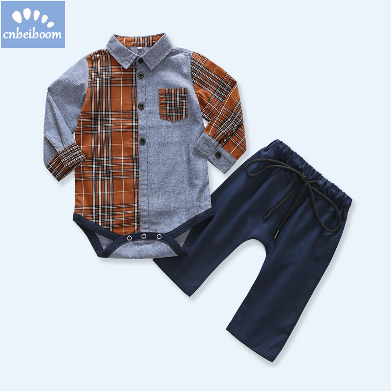 2018 New Gentleman kids Clothes Long Sleeve Shirt Pants sets birthday Party Baby Boys Christmas newborn infant Clothing 2pcs/Set