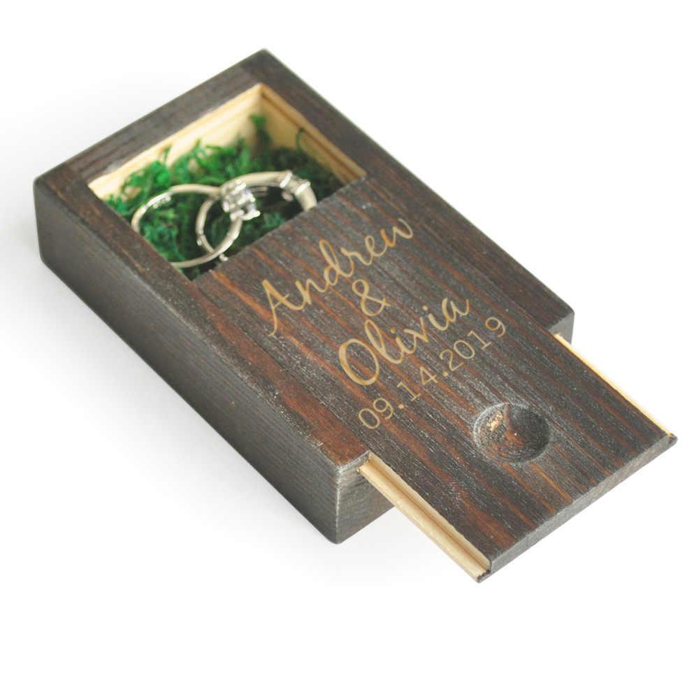 カスタム結婚指輪ボックス、パーソナライズ木製結婚指輪ボックス、素朴な結婚式のリングホルダー、ジュエリーボックス