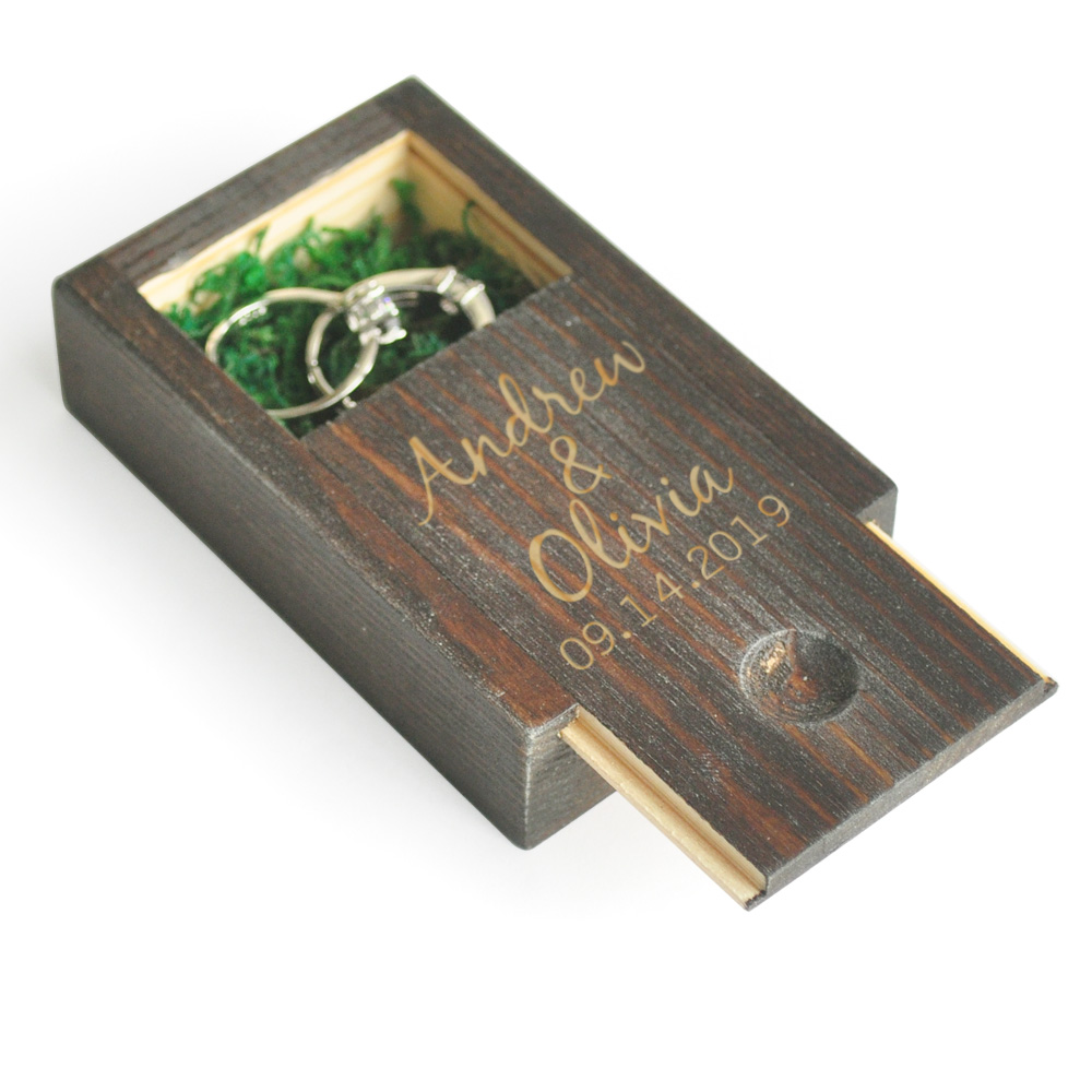 Custom Wedding Ring Box,Personalized Wooden Wedding Ring Box,Rustic Wedding Ring Holder, Jewelry Box