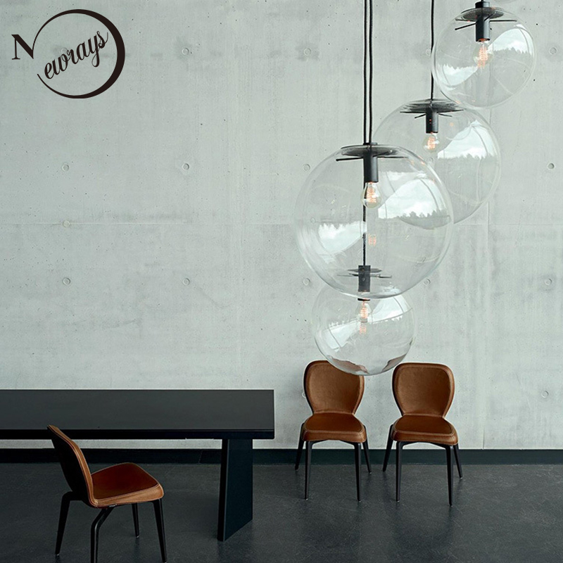 Modern home deco glass ball pendant light LED E27 Nordic simple hanging lamp with 8 styles for bedroom parlor dining room cafe nordic wrought iron simple modern pendant lamp with led bulb dinning room light cafe lamp e27 110v 220v free shipping