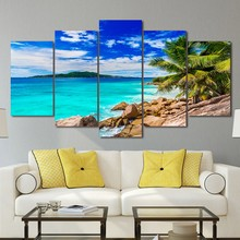 Modern Canvas Art Painting Frame HD Printed Wall Art 5 Pieces Pictures Summer Beach Sea Shore Seascape Poster Home Decor PENGDA(China)