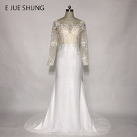 E JUE SHUNG White Chiffon Lace Appliques Mermaid Wedding Dresses Long Sleeves Beach Wedding Dresses Robe