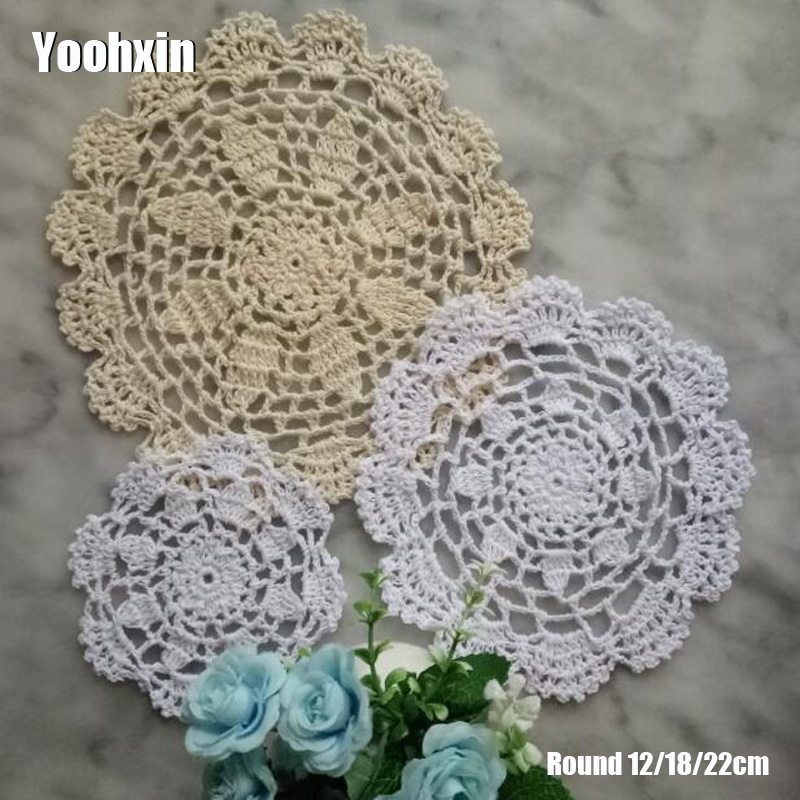 HOT Lace Round cotton table place mat pot pad Cloth crochet bar placemat cup mug tablecloth tea coaster handmade doily kitchen in Tablecloths from Home Garden