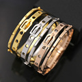 2016 New Punk Style Double Belt Buckle Drilling Rivets LOVE Stainless Steel Bangles For Women Jewelry