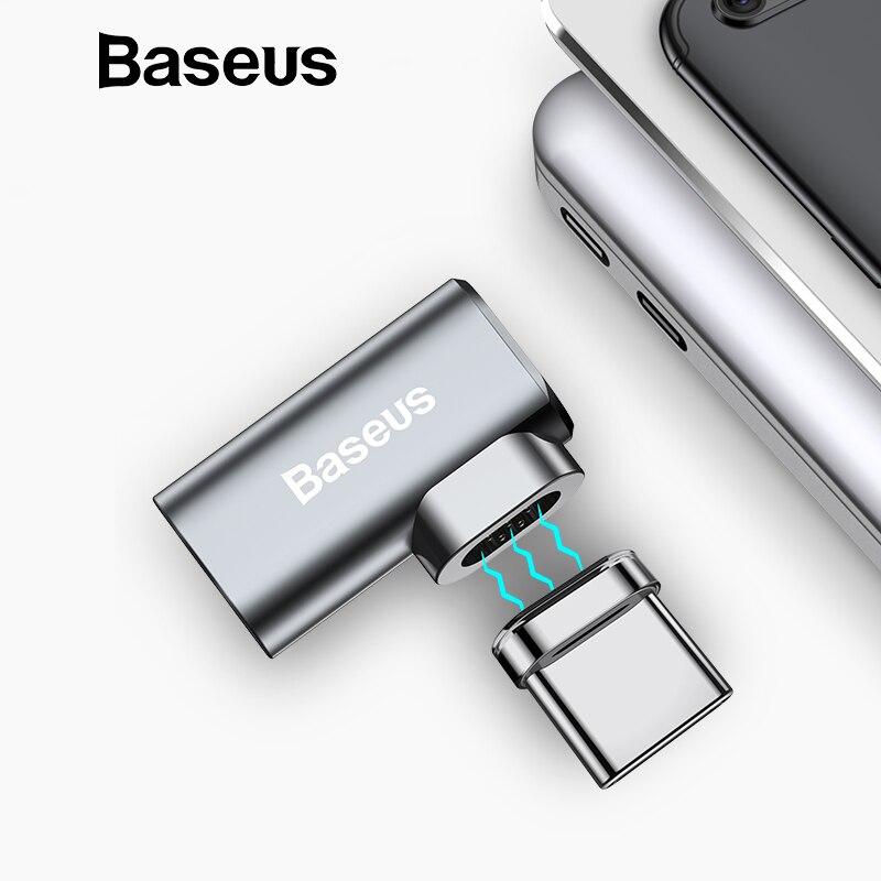 Baseus 86 W magnético adaptador de USB-C para MacBook Pro 15 pulgadas 6 pines codo USB tipo C conector de carga para adaptador USB Samsung