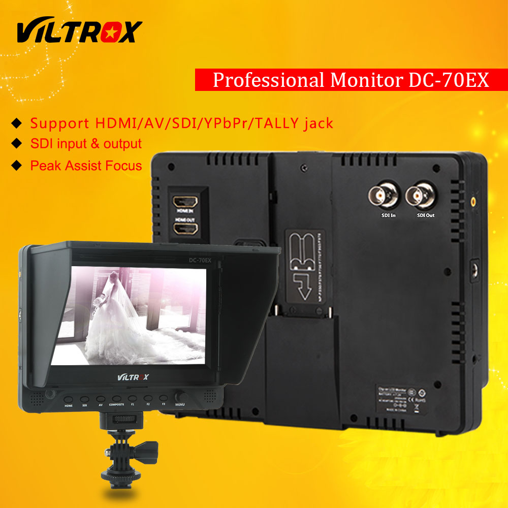 Viltrox DC-70EX Pro 7 4K HDMI SDI AV TALLY Input Output Video HD LCD Camera Video Monitor Display Field for Canon Nikon Sony aputure vs 5 7 inch sdi hdmi camera field monitor with rgb waveform vectorscope histogram zebra false color to better monitor