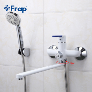 Image 2 - Frap Modern Style Bath Faucet Wall Mounted Cold and Hot Water Mixer Tap Multi Color Handle Cover Choices 35cm Long Nose F2234